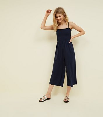 Petite Navy Shirred Jersey Culotte Jumpsuit