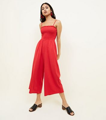 Petite Red Shirred Jersey Culotte Jumpsuit by New Look