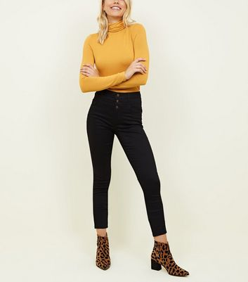 Tall Black High Waist 3 Button Skinny Jeans