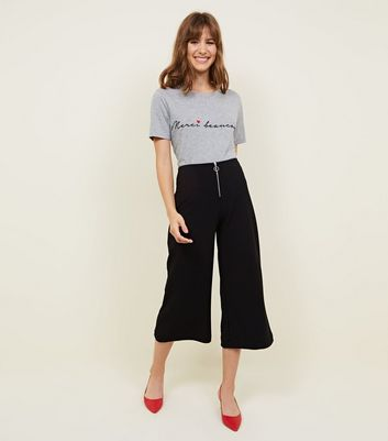 Black Ring Pull Zip Front Crepe Culottes