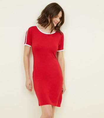 Pink Vanilla Red Contrast Trim Bodycon Dress