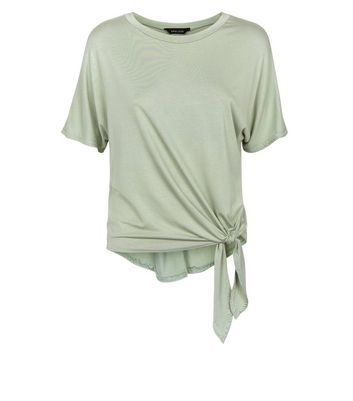 New Look - Olive Green Tie Side T-Shirt - 4