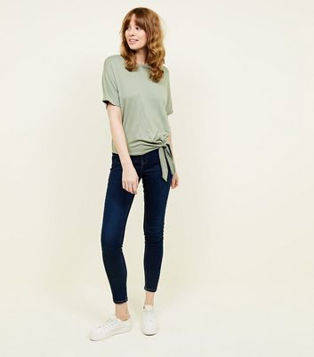 New Look - Olive Green Tie Side T-Shirt - 2