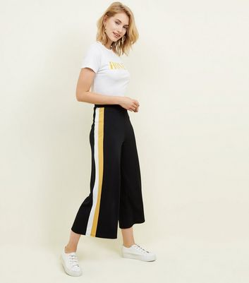Black and Yellow Ribbed Side Stripe Trousers