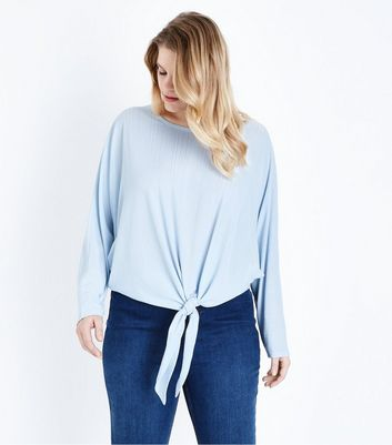 Blue Vanilla Curves Pale Blue Tie Front Top