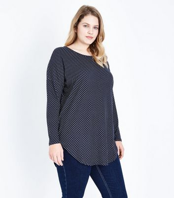 Blue Vanilla Curves Navy Polka Dot Top