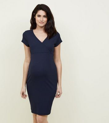 Maternity Navy Wrap Midi Bodycon Dress
