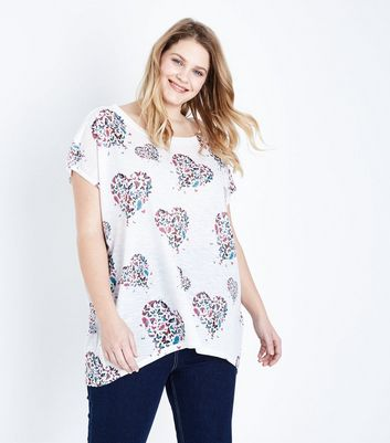 Blue Vanilla Curves White Butterfly Heart Top