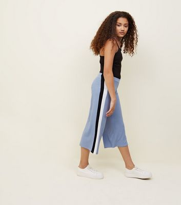Teens Pale Blue Side Stripe Ribbed Culottes