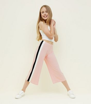 Teens Pale Pink Stripe Side Ribbed Culottes