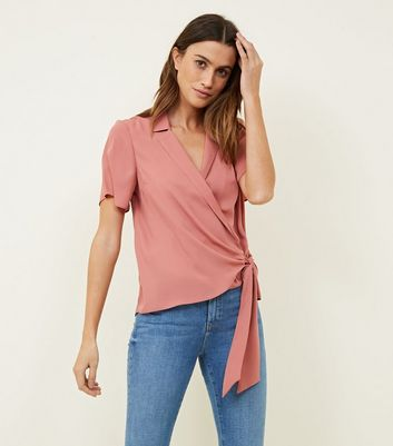 Mid Pink Wrap Front Revere Collar Blouse