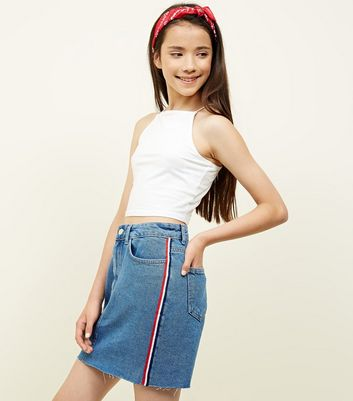 Teens Blue Stripe Side Tape Denim Skirt