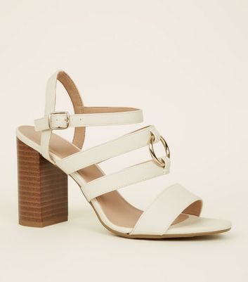 Wide Fit Off White Leather-Look Ring Strap Sandals