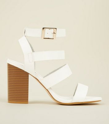 White Leather-Look Square Toe Strappy Sandals