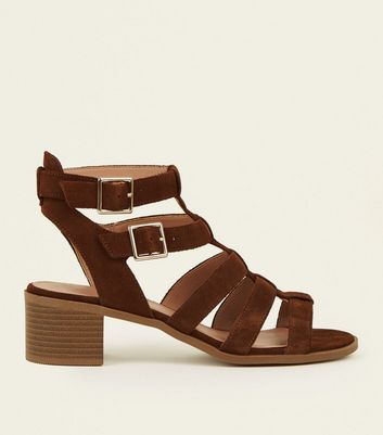 Tan Suede Low Block Heel Gladiator Sandals