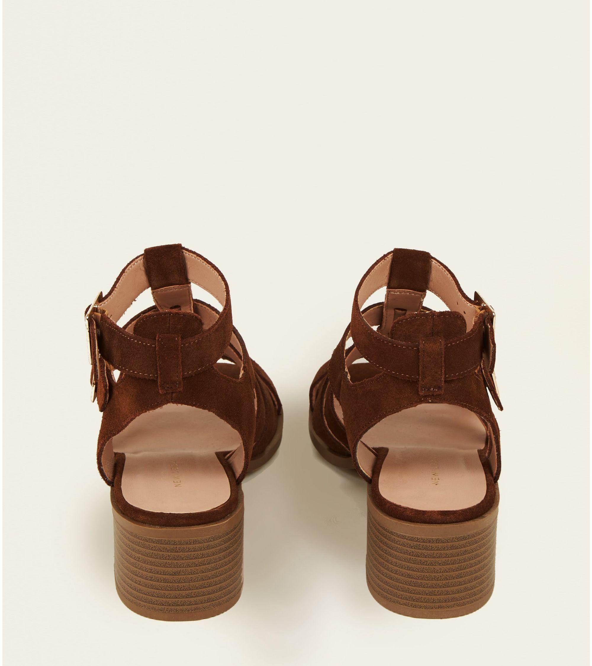 1042b8d74239 New Look Tan Suede Low Block Heel Gladiator Sandals at £12