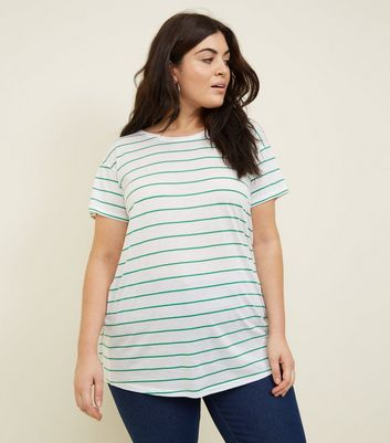 Curves Green Stripe Oversized T-Shirt