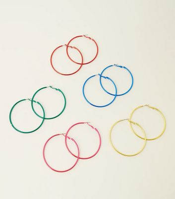 5 Pack Multicoloured Hoop Earrings