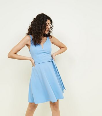 Pale Blue Scuba Notch Neck Skater Dress