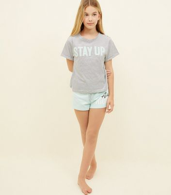 Girls Teal Chenille Stay Up Slogan Pyjama Set