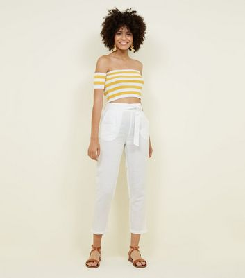 White Linen Blend Tie Waist Cropped Trousers by New Look