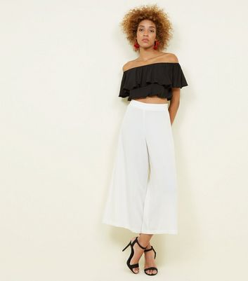 White Cropped Wide Leg Trousers by New Look