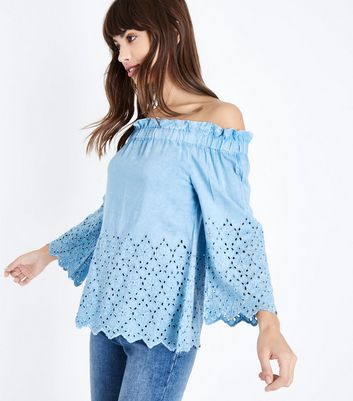QED Blue Embroidered Cut Out Top