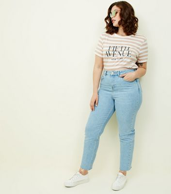 Curves Pale Blue Cropped Straight Leg Jeans