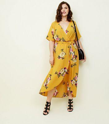 Shoptagr Curves Robe Mi Longue Moutarde A Fleurs Et Bas