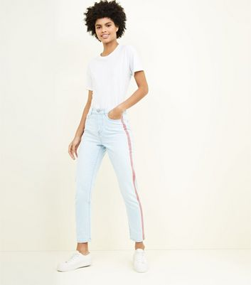 Pale Blue Side Stripe Tori Mom Jeans