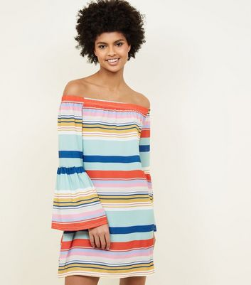 Rainbow Stripe Bell Sleeve Bardot Tunic Dress