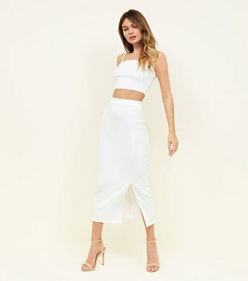 White High Waist Split Midi Skirt