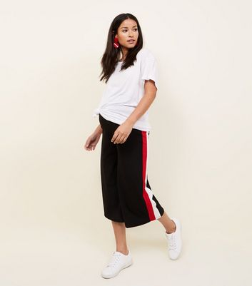 Maternity Black Side Stripe Ribbed Culottes