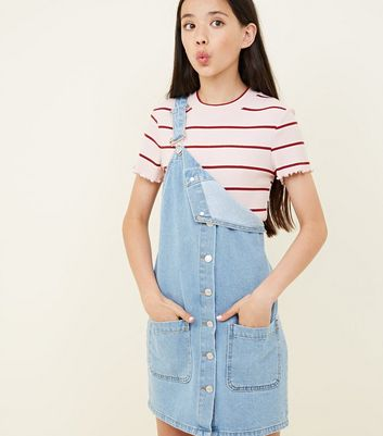 Teens Pale Blue Button Front Denim Pinafore Dress by New Look