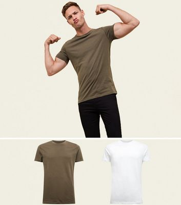 2 Pack Khaki and White Muscle Fit T-Shirts