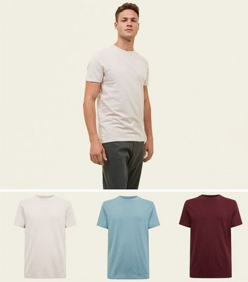 3 Pack Multicoloured Crew Neck T-Shirts