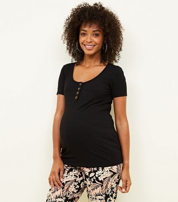 Maternity Black Ribbed Button Front T-Shirt