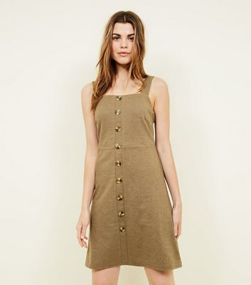 Tall Khaki Button Front Pinafore Dress