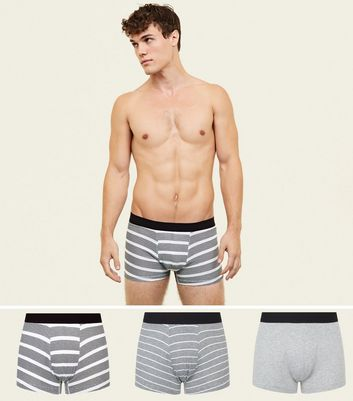 3 Pack Grey Stripe Trunks