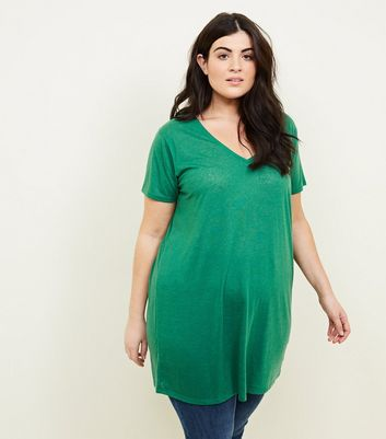 Curves Green Textured Oversized T-Shirt