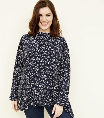 Blue Vanilla Curves Navy Ditsy Floral Top