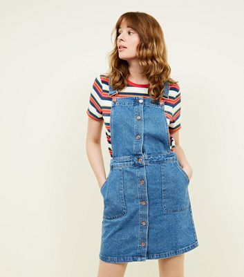Tall Blue Button Front Denim Pinafore Dress