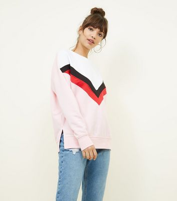 Pink Chevron Colour Block Sweatshirt