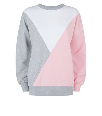 Pink Diagonal Colour Block Sweatshirt