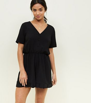 Petite Black Button Front Frill Hem Playsuit