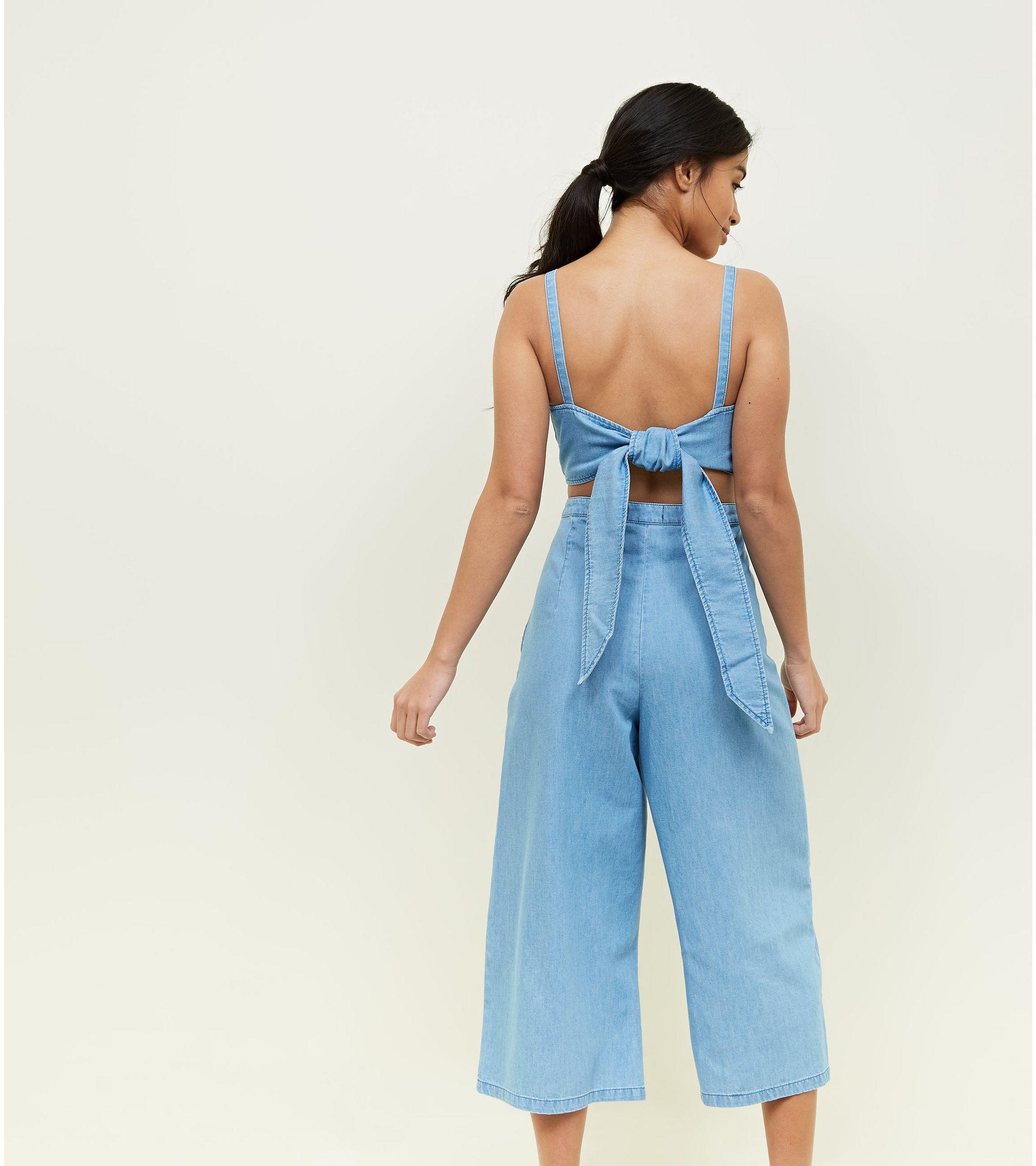 ff3d8b43428 New Look Petite Blue Tie Back Lightweight Denim Jumpsuit at £10 ...