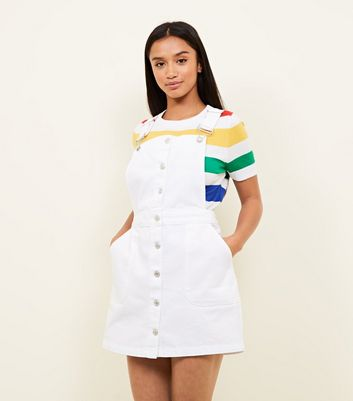 Petite White Button Front Denim Pinafore Dress
