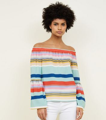 Rainbow Stripe Bell Sleeve Bardot Top
