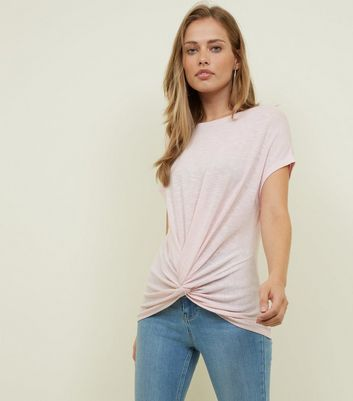 Pink Twist Front Fine Knit T-Shirt