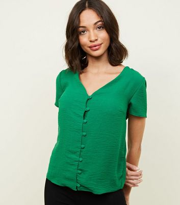 Green V Neck Button Front Blouse